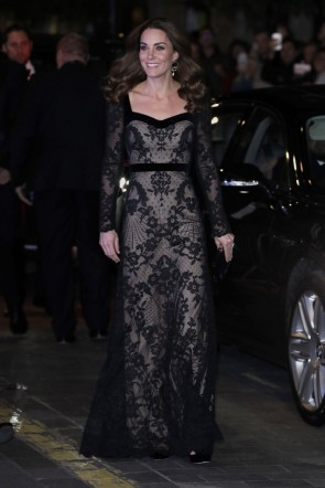 Kate Middleton Black Lace Dress at the Royal Variety Performance