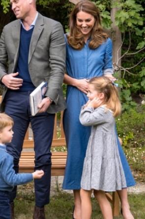 Kate Middleton Blue Shirt Midi Dress