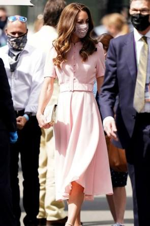 Kate Middleton Blushing Pink A-line Round Collar Dress