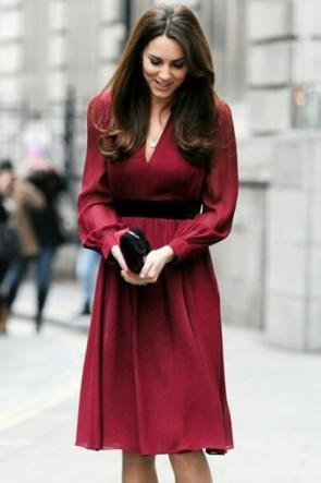Kate Middleton Burgundy Short Dress With Sleeves