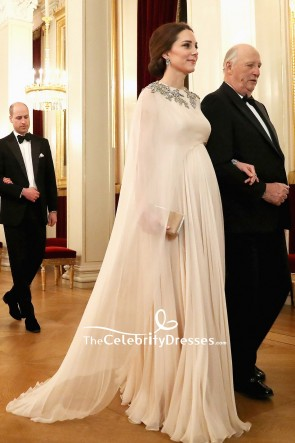 Kate Middleton Chiffon Beaded Caped Princess Gown Dinner At Royal Palace To Norway TCD7724