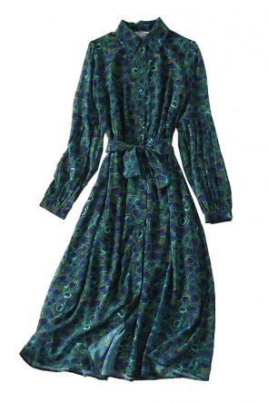 Kate Middleton Dark Green Peacock Print Shirt Dress