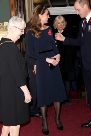 Kate Middleton Dark Navy Midi Dress With Sleeves