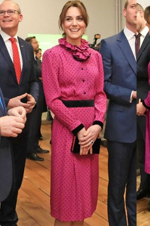 Kate Middleton Fuchsia Print Short Dress With Long Sleeves