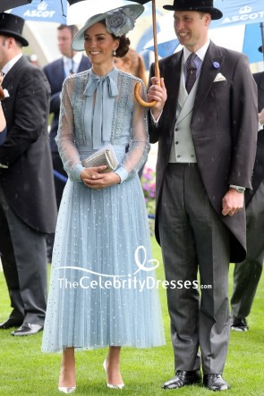 Kate Middleton Light Blue Lace A-line Dress With Long Sleeves