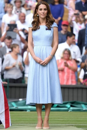 Kate Middleton Midi Light Sky Blue Dress With Cap Sleeves Wimbledon 2019