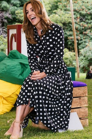 Kate Middleton Polka Dot Shirt Floral Dress