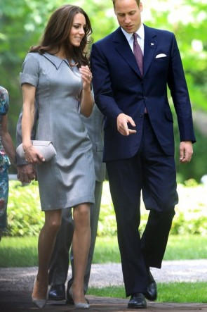 Kate Middleton Princess Elegant Gray Dress Canadian War Museum