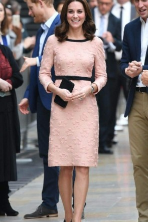 Kate Middleton Princess Pink Long Sleeves Dress