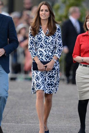 Kate Middleton Printed Casual Knee-length Dress With Long Sleeves