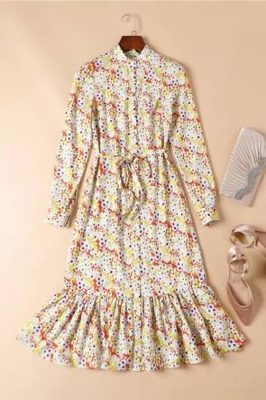 Kate Middleton Printed Midi Dress With Long Sleeves