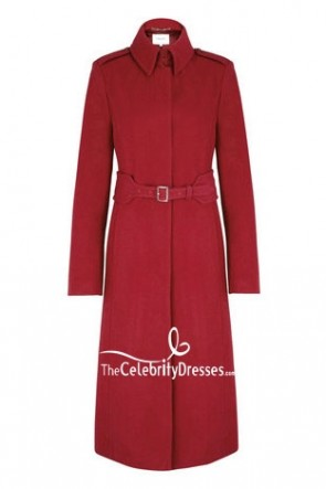 Kate Middleton Red Coat With Long Sleeves For Poppy Appeal TCD7643