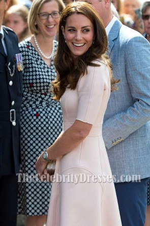 Kate Middleton Pink Short Sleeves Fit And Flare Party Dress Visiting Cornwall and the Scilly Isles TCD7441