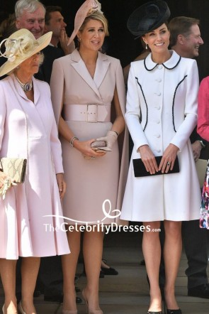 Kate Middleton White Coat Cocktail Dress Order Of the Garter Service TCD8558