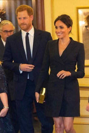 Meghan Markle Black Blazer V-neck Coat 2019