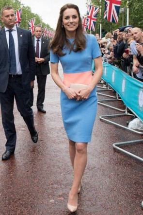 Kate Middleton Two Tones Party Dress With Short Sleeves