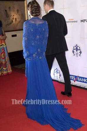 Kate Middleton Royal Blue Luxury Long Sleeves Caped Evening Dress Bollywood-Inspired Charity Gala 2016 TCD7438