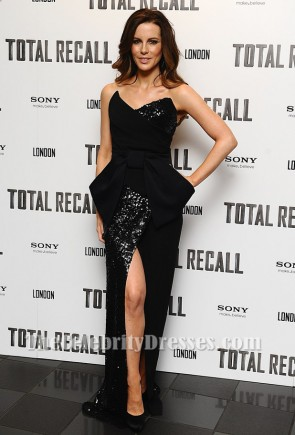 Kate Beckinsale Black Evening Dress Total recall UK premiere