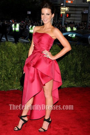 Kate Beckinsale Red Strapless Evening Dress 2013 Met Gala