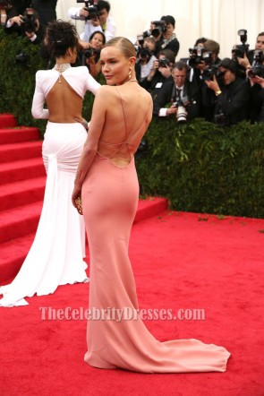 Kate Bosworth Pink Backless Prom Dress 2014 Met Gala Red Carpet