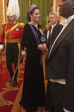 Kate Middleton Black Velvet Evening Dress With Sleeves TCD8795