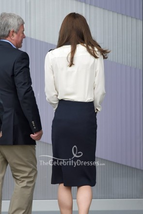 Kate Middleton Black & White Buttons Long Sleeves Dress