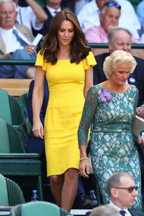 Kate Middleton Bright Yellow Party Dress Wimbledon