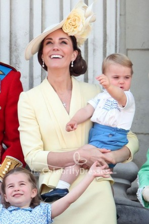 Kate Middleton Daffodil V-neck Dress Buckingham Palace