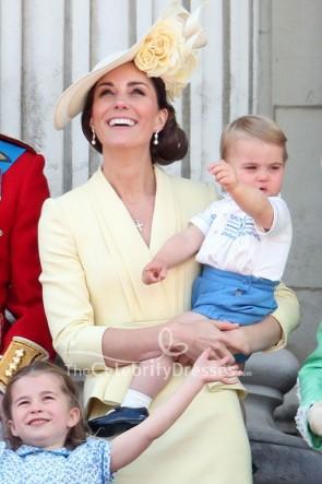 Kate Middleton Daffodil V-neck Dress Buckingham Palace