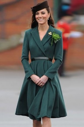 Kate Middleton Drak Green A-line Belt Dress