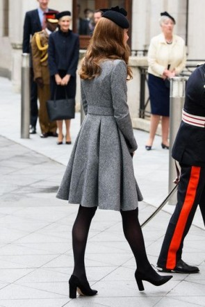 Kate Middleton Gray Knee Length A-line Ruffles Coat 2019 TCD8526