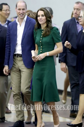 Kate Middleton Green Short Sleeves Cocktail Dress Her Visit to Paris TCD7211