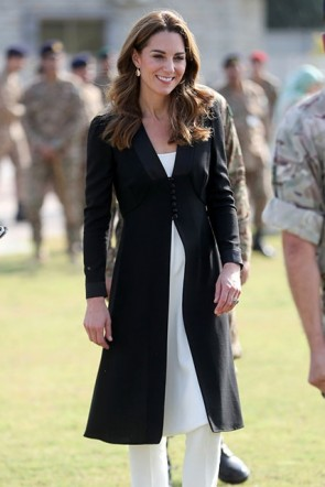 Kate Middleton Long Black Buttons Coat
