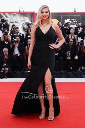 Kate Upton Black Wrap Dress Venice Film Festival 2019