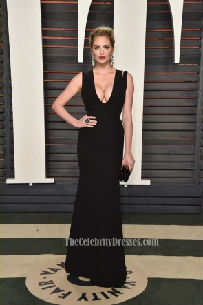 Kate Upton Vanity Fair Oscar Party 2016 Black Sheath Evening Prom Gown Red Carpet Formal Dress 1