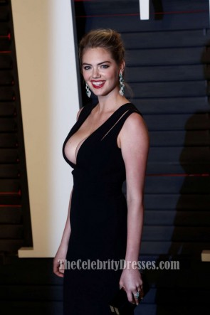 Kate Upton Vanity Fair Oscar Party 2016 Black Sheath Evening Prom Gown Red Carpet Formal Dress TCD6699