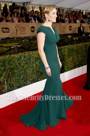 Kate Winslet Dark Green Long Mermaid Evening Prom Gown 2016 SAG Awards TCD6980