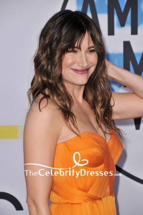 Kathryn Hahn Orange Strapless Chiffon Long Gown 2017 American Music Awards Red Carpet TCD7589