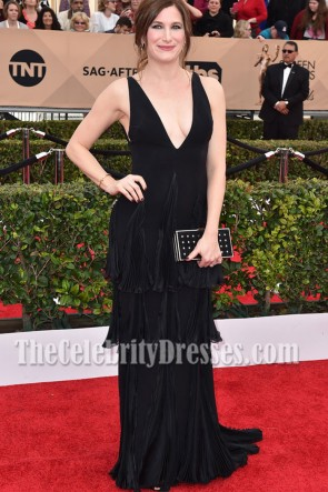 Kathryn Hahn Black Deep V-neck Ruffle Evening Prom Gown 2016 SAG Awards 4
