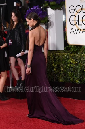 Katie Holmes 2015 Golden Globe Awards Purple Red Carpet Evening Dress