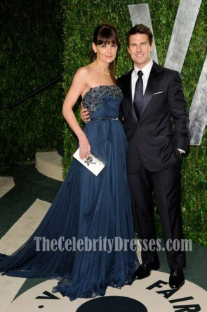 Katie Holmes Navy Blue Evening Dress 2012 Vanity Fair Oscar Party