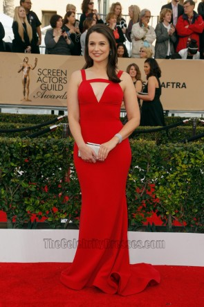 Katie Lowes Red Evening Dress 22nd Annual Screen Actors Guild Awards 2