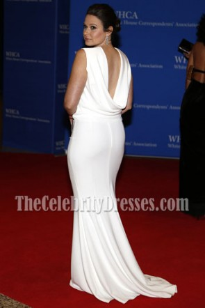 Katie Lowes White Sleeveless Evening Prom Gown Yahoo News White House Correspondents Dinner TCD7100