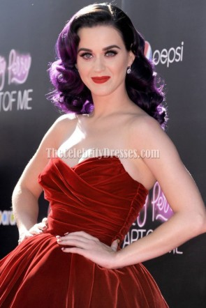 Katy Perry Red Strapless Party Dress 'Katy Perry : Part of Me 3D' Premiere