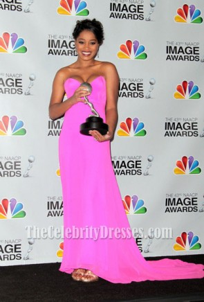 Keke Palmer Fuchsia Prom Dress 2012 NAACP Image Awards Red Carpet