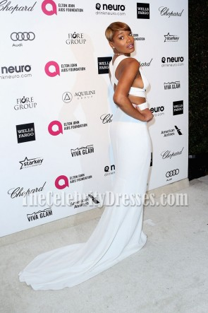 Keke Palmer White Cutout Long Evening Prom Gown Elton John Aids Foundation Oscar Viewing Party TCD6907