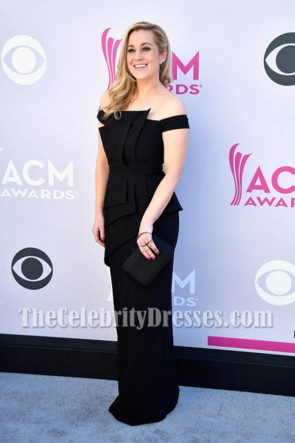 Kellie Pickler Black Off-the-Shoulder Evening Dress 2017 Academy Of Country Music Awards TCD7208