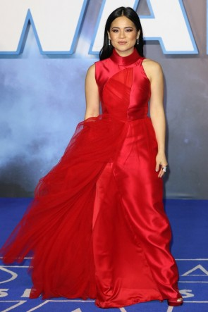 Kelly Marie Tran High Neck Red Sleeveless Prom Formal Dress