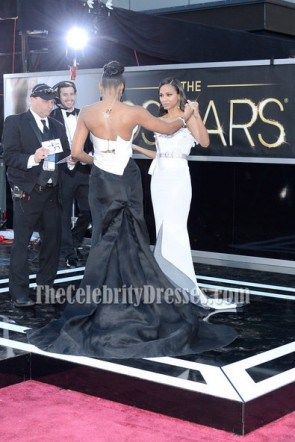 Kelly Rowland White And Black Strapless Formal Dress 2013 Oscar