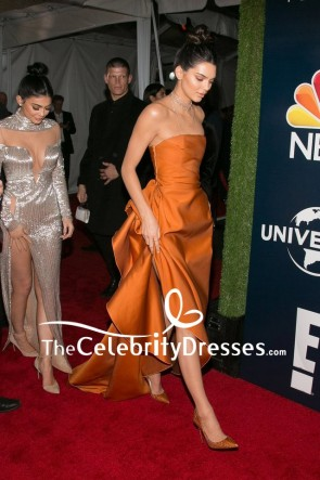 Kendall Jenner Orange Strapless Evening Formal Dress 2017 Golden Globes Afterparty TCD7900